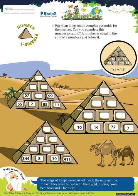 number pyramid  math worksheet  grade