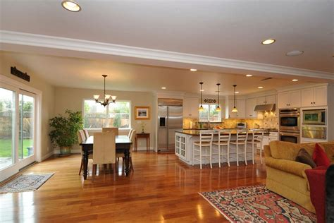 open floor plan kitchen family room dining room