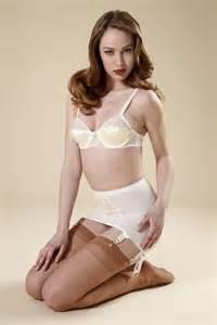 White open bottom girdle with matching bra classic shapewear