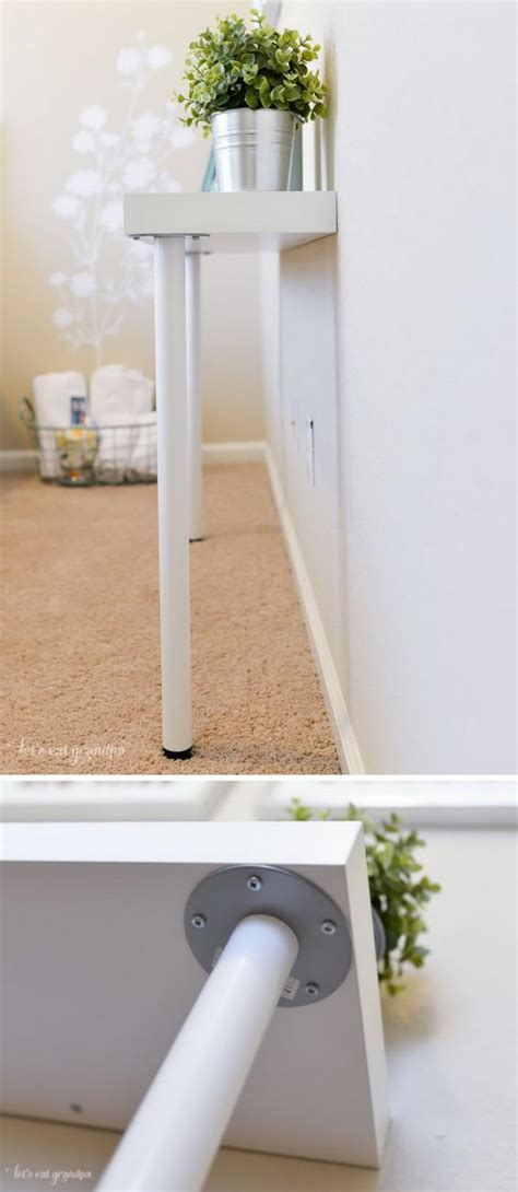 picture of diy ikea hack narrow console table 30 ways to hack ikea lack shelves hative