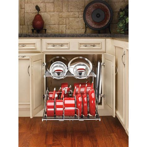 two tier pots pans and lids organizer for kitchen cabinet