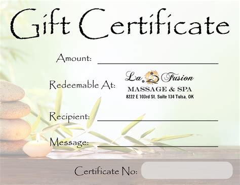 spa day gift card template lafusion spa gift certificate tulsa spa gifts