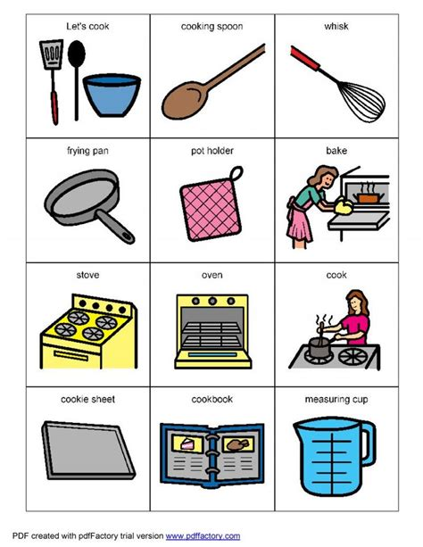 pecs card template living well with autism cooking visual helpers lots of