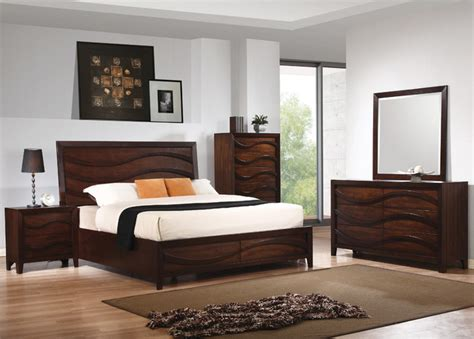 wave bedroom set loncar 5pc queen wave bedroom set in java oak finish