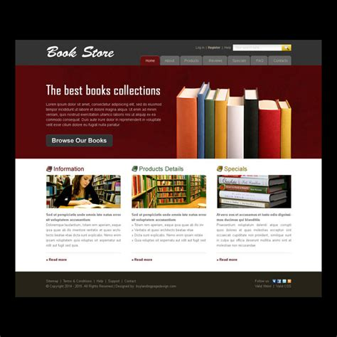website layout design books the best book collection online store website template