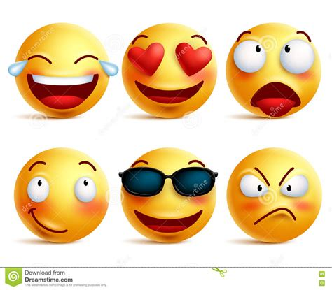 short cuts for large faces cute emoticon smile emoji icons set isolated 3d realistic