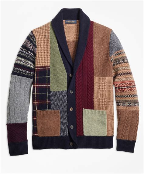 Patchwork Cardigan - brothers lambswool patchwork shawl collar cardigan