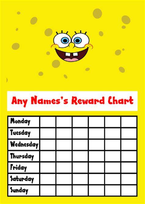 free printable reward charts spongebob spongebob reward chart
