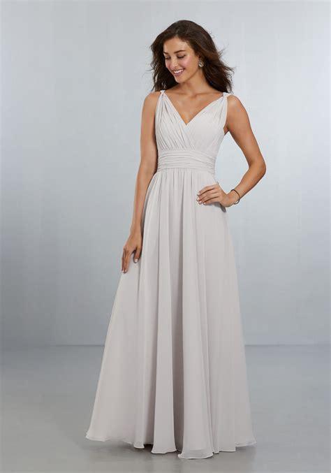 chiffon bridesmaids dress with v neckline and v back