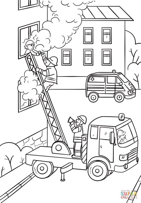 ladder truck coloring page fireman is climbing up the truck ladder to save a girl