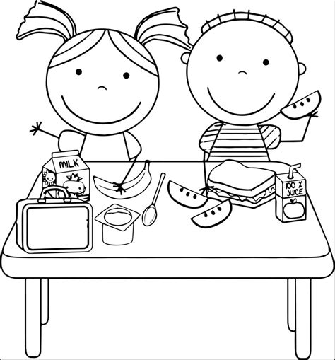 school lunch coloring page school lunch clipart black and white clipartfest school
