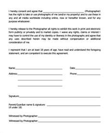 Photographic Release Form Template by Sle Photography Consent Form 9 Free Documents