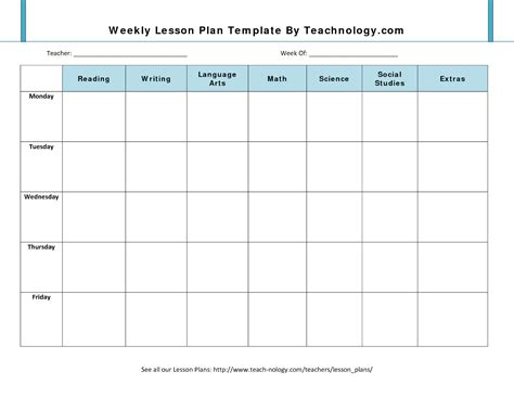 plan template 7 weekly lesson plan template