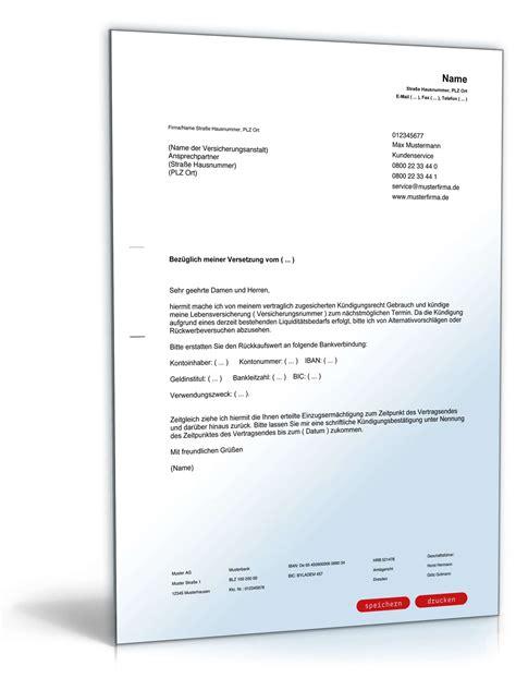 Muster Kündigung Lebensversicherung Pdf k 252 ndigung lebensversicherung muster zum