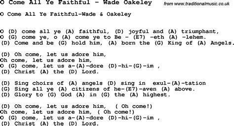 O Come All Ye Faithful Guitar Chords
