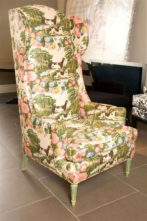 Wingback Chair Upholstery by High Back Wingback Chair In Original Upholstery