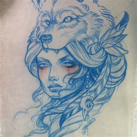 image result for wolf headdress drawing line tattoos