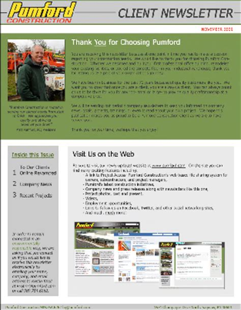 Construction Newsletter Pumford Construction Company News