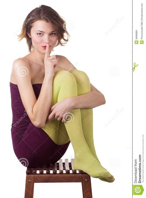 thin fashion girl sitting   chair stock image image
