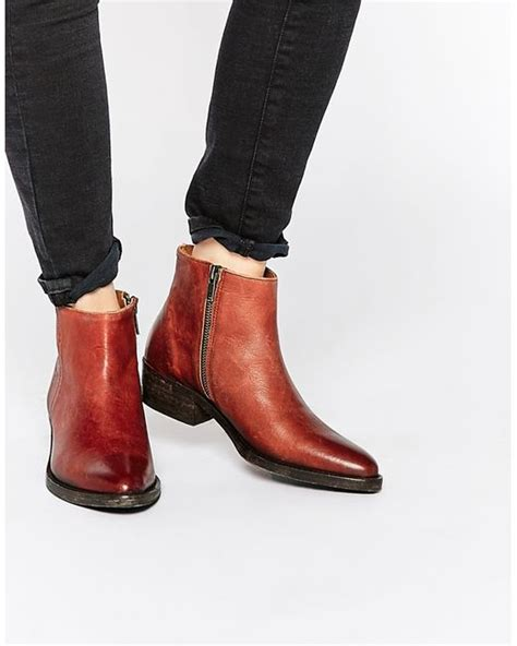 selected femme bobi cognac leather ankle boots in brown