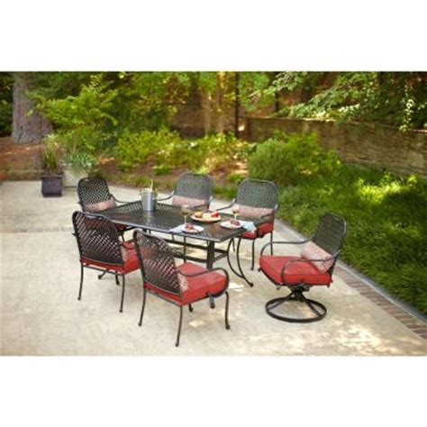 7pc Patio Dining Set Hton Bay Fall River 7 Patio Dining Set With Dragonfruit Cushion