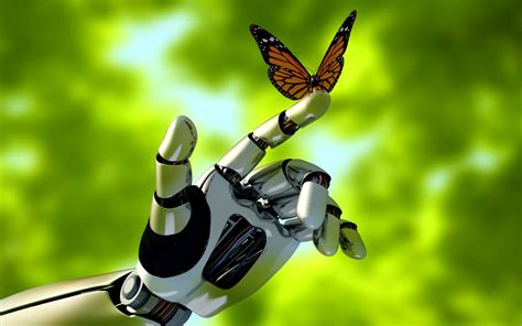 fondos de pantalla robots robot hand and butterfly fondos de pantalla gratis para