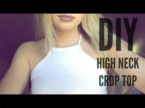 diy   ribbed high neck crop top (under $3!) youtube