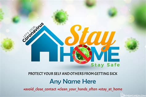 stay home stay safe coronavirus card