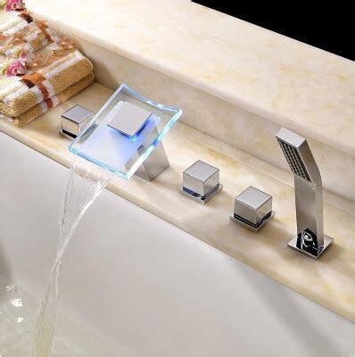 chagne glass bathtub thermochromic contemporary chrome finish led waterfall