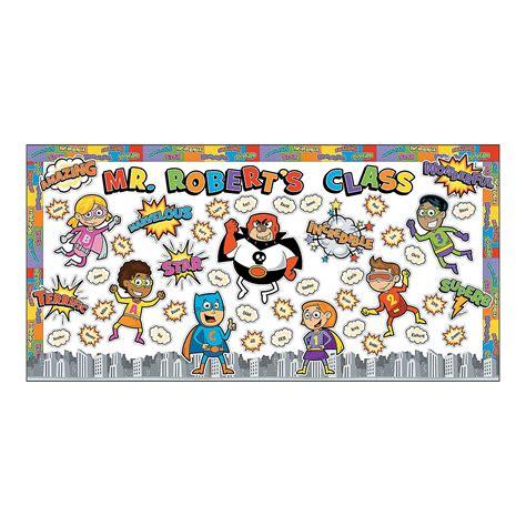 theme board names super hero bulletin board have each child add their own