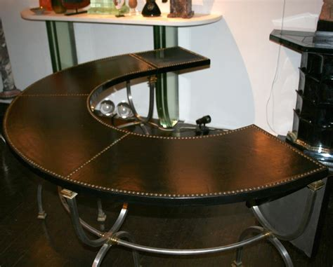 polished steel semi circular desk by jansen circa