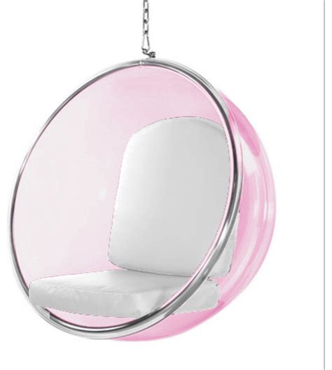 Acrylic Hanging Chair by Hanging Pink Acrylic Chair White Cushion Modern