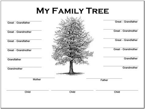 4 generation family tree template word pictures reference