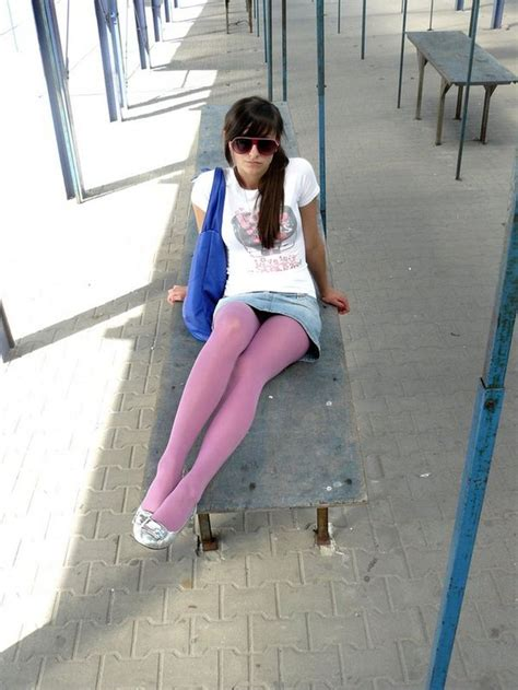 pink tights with silver flat shoes denim skirt and white