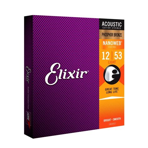 elixir nanoweb light phosphor bronze acoustic guitar strings elixir nanoweb e16052 phosphor bronze acoustic guitar