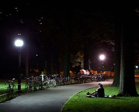energy saving led street lights light up central park