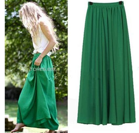 new skirt style pastel pleated maxi chiffon skirts 2018 boho summer