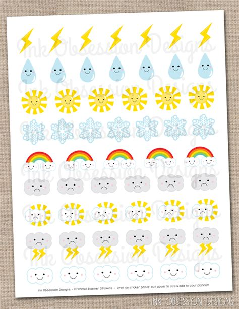 weather planner stickers printable ink obsession designs instant download planner sticker pdfs