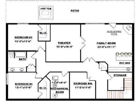 rectangular bungalow floor plans bungalow with basement house plans elegant rectangular
