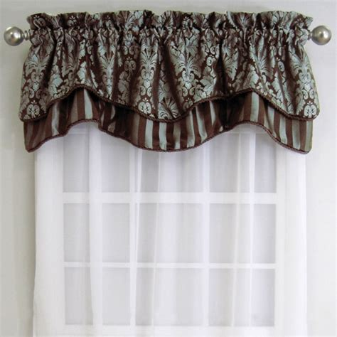 Blue And Brown Window Valance Valance Window Treatment