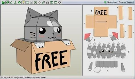 Cat Paper Craft - papermau nyako cat in a box paper model by