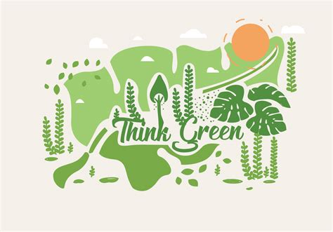 Think Green think green poster vol 2 vector free vector