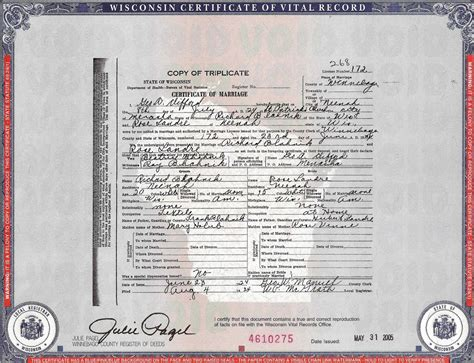 Wisconsin Marriage Records Richard J 1904 1981