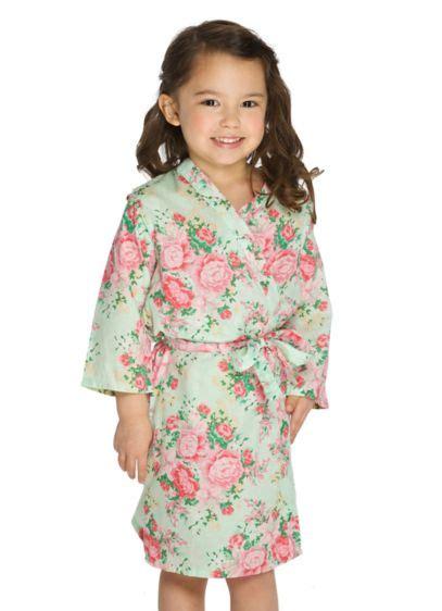 142735 Kimono Set Mint flower cotton floral robe david s bridal