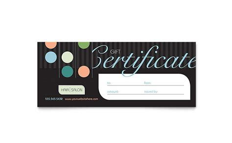 hair salon gift certificate template hair salon gift certificate template word