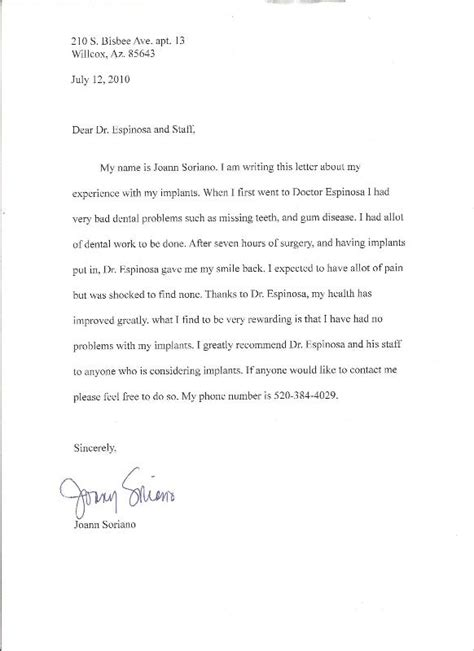 Patient Letter To Doctor Happy Patients To Dr Jose Luis Espinoza At Periogroup In Nogales Sonora Mexico
