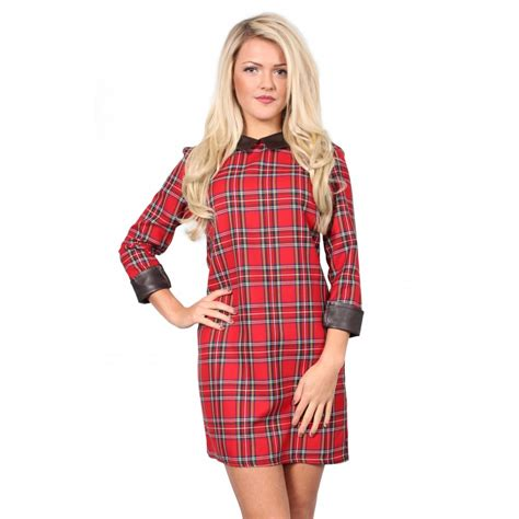 Tartania Dress tartan dress with brown collar from parisia