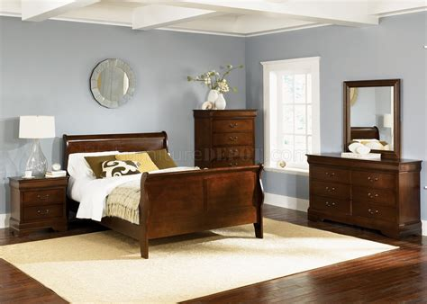 whiskey finish louis philippe sleigh bed w optional goods