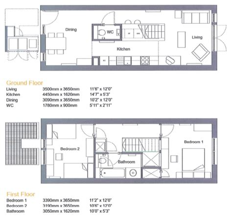 terraced house floor plans floor plan for two bedroom terraced house by proctor and matthews compact living pinterest