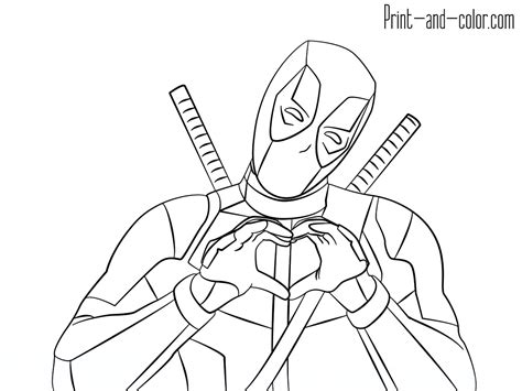 how to print in color deadpool coloring pages print and color